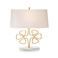 Clover 29 inch 150 watt Brass and Creamy Marble Table Lamp Portable Light
