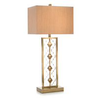 Moroccan 36 inch 150 watt Clear Acrylic and Brass Table Lamp Portable Light