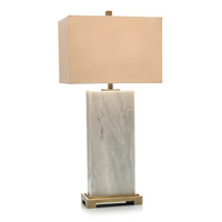 Marble Slab 34 inch 150 watt Brass and White Marble Table Lamp Portable Light