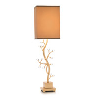 Branch 38 inch 100 watt Gold Leaf and Crystal Table Lamp Portable Light