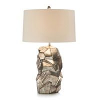 Faux Pyrite 31 inch 150 watt Antique Silver and Beige Table Lamp Portable Light