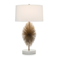 Starburst 35 inch 150 watt Brass and Cream Table Lamp Portable Light