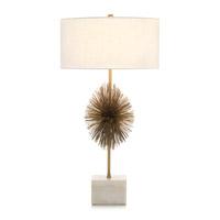 John Richard JRL-9319 Starburst 32 inch 60 watt Brass and Cream Table Lamp Portable Light