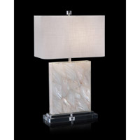 John Richard JRL-9332 Mother Of Pearl 23 inch 150 watt White Mother Of Pearl and Gloss White Table Lamp Portable Light