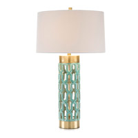 John Richard JRL-9360 Signature 34 inch 150 watt Turquoise Glaze and Brass Table Lamp Portable Light