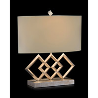 Triple Diamond 21 inch 150 watt Silver Leaf and Misty Cream Table Lamp Portable Light