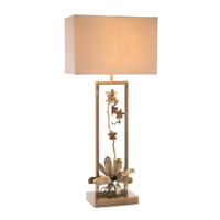 John Richard JRL-9366 Blooming Pierced Orchid 41 inch 150 watt Antique Brass and Gold Table Lamp Portable Light
