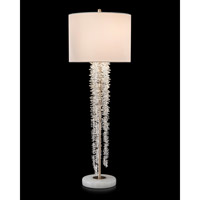 John Richard JRL-9394 Cascading Crystal Waterfall 40 inch 60 watt Antique Silver and White Table Lamp Portable Light