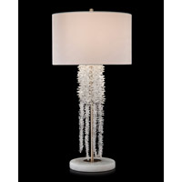 Waterfall 35 inch 60 watt Antique Silver and White and Clear Table Lamp Portable Light