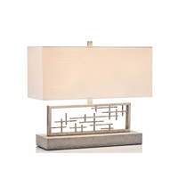 John Richard JRL-9427 Mid Century 19 inch 60 watt White and Grey Table Lamp Portable Light