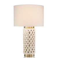 John Richard JRL-9467 Ceramic Latticework 35 inch 150 watt Off White Brass Table Lamp Portable Light