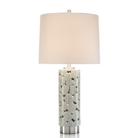 John Richard JRL-9468 Ceramic Cutout 35 inch 150 watt Off White and Nickel Table Lamp Portable Light