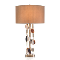 Falling Agate 35 inch 150 watt Brass and Agate Table Lamp Portable Light