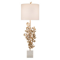 Botanicals 44 inch 150 watt Brass and White Table Lamp Portable Light