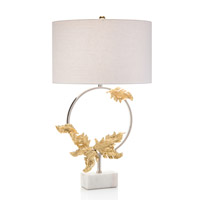 Wreath 32 inch 150 watt Brass and Nickel Table Lamp Portable Light