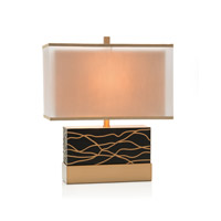 John Richard JRL-9573 Cloisonne 24 inch 150 watt Black and Bronze Table Lamp Portable Light