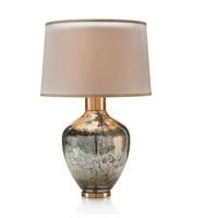 John Richard JRL-9593 Handblown Mottled 30 inch 150 watt Silver Mirror and Gold Table Lamp Portable Light