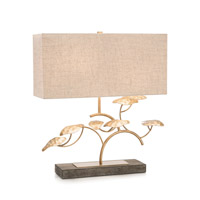 John Richard JRL-9602 Signature 26 inch 100 watt Gold and White Table Lamp Portable Light