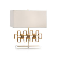 John Richard JRL-9673 Signature 24 inch 150 watt Brass and Clear Table Lamp Portable Light
