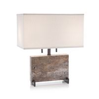 John Richard JRL-9719 Layered Stone 21 inch 60 watt Dark Bronze Table Lamp Portable Light