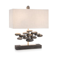 John Richard JRL-9732 River Rock 26 inch 60 watt Antique Gold and Concrete Accent Lamp Portable Light