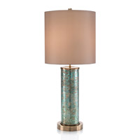 John Richard JRL-9746 Emerald Brass 34 inch 150 watt Green and Antique Brass Table Lamp Portable Light