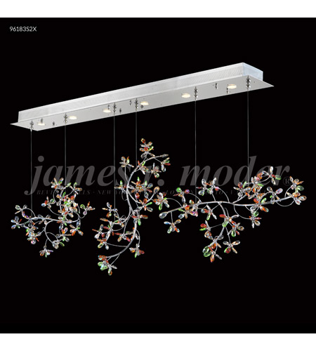 James R. Moder 96183S11 Continental Fashion 6 Light 9 inch Silver Mini Chandelier Ceiling Light, Floral photo thumbnail