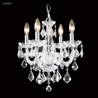 James R. Moder 40254S0T Maria Theresa Collection 4 Light 16 inch Silver Chandelier Ceiling Light