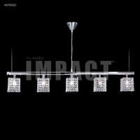 Contemporary 5 Light Silver Linear Chandelier Ceiling Light