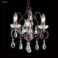 James R. Moder 40833VB11 Mini Crystal Chandelier Collection 3 Light 13 inch Vintage Bronze Chandelier Ceiling Light