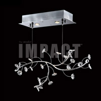 James R. Moder 40981S00 Crystal Rain Collection 2 Light 9 inch Silver Chandelier Ceiling Light