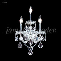 James R. Moder 91703S11 Maria Theresa Grand 3 Light 11 inch Silver Wall Sconce Wall Light, Grand