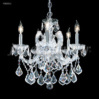 James R. Moder 91805S11 Maria Theresa 5 Light 18 inch Silver Mini Chandelier Ceiling Light Grand