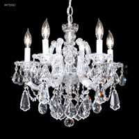 James R. Moder 94715S11 Maria Theresa Royal 5 Light 18 inch Silver Crystal Chandelier Ceiling Light, Royal