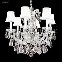 James R. Moder 94716S11-97 Maria Theresa Royal Collection 6 Light 23 inch Silver Chandelier Ceiling Light Royal