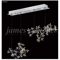 Continental Fashion 4 Light 9 inch Silver Mini Chandelier Ceiling Light, Floral