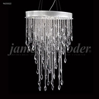 James R. Moder 96255S22 Sculptured Crystal Leaf Collection 6 Light 11 inch Silver Chandelier Ceiling Light Oval