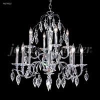 James R. Moder 96279S22 Sculptured Crystal Leaf Collection 12 Light 29 inch Silver Chandelier Ceiling Light