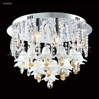 James R. Moder 96324S0ZW Murano Collection 5 Light 17 inch Silver Flush Mount Ceiling Light