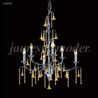 James R. Moder 96326AG22E Murano 6 Light 26 inch Aged Gold Chandelier Ceiling Light