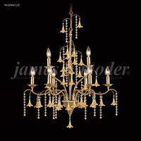 James R. Moder 96329AG11E Murano 9 Light 28 inch Aged Gold Chandelier Ceiling Light