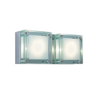 Jesco WS306H-2GL Quattro 2 Light 11 inch Chrome Wall Sconce Wall Light in Glass