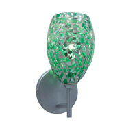 Moz 1 Light 5 inch Satin Nickel Wall Sconce Wall Light in Moz Emerald