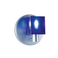 Cube 1 Light 5 inch Satin Nickel Wall Sconce Wall Light in Boule Cobalt Blue