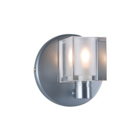 Cube 1 Light 5 inch Satin Nickel Wall Sconce Wall Light in Boule Clear