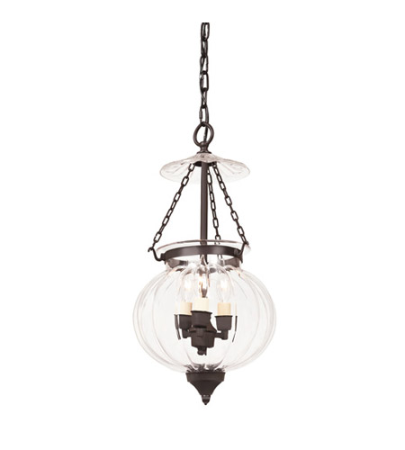 JVI Designs Melon Jar 3 Light Medium Hanging Bell Pendant in Oil Rubbed Bronze 1003-08 photo