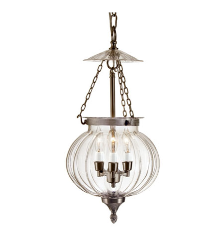 JVI Designs Melon Jar 3 Light Large Hanging Bell Pendant in Pewter 1006-17 photo