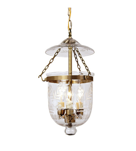 JVI Designs Bell Jar 3 Light Small Hanging Bell Pendant in Rubbed Brass with Flower Glass 1007-10 photo