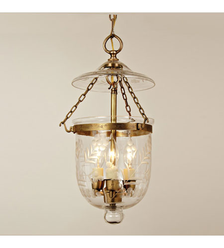 JVI Designs Bell Jar 3 Light Hanging Bell Pendant in Rubbed Brass 1011-10 photo