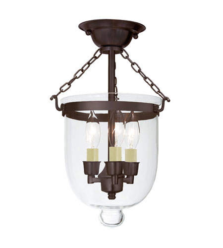 JVI Designs 1015-08 Bell Jar 3 Light 9 inch Oil Rubbed Bronze Semi-Flush Mount Ceiling Light photo